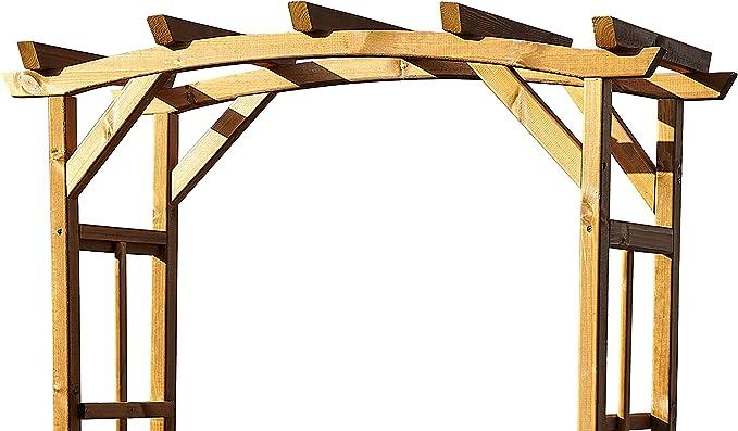 Curvado marrón arco de jardín de madera con asiento – entrada en color rosa Banco de Arbour Pergola enrejado planta apoyo – al aire libre Arco Arbor: Amazon.es: Jardín