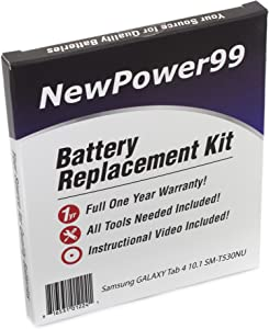 Battery Kit for Samsung Galaxy Tab 4 10.1 SM-T530NU with Battery, Video Instructions and Tools from NewPower99