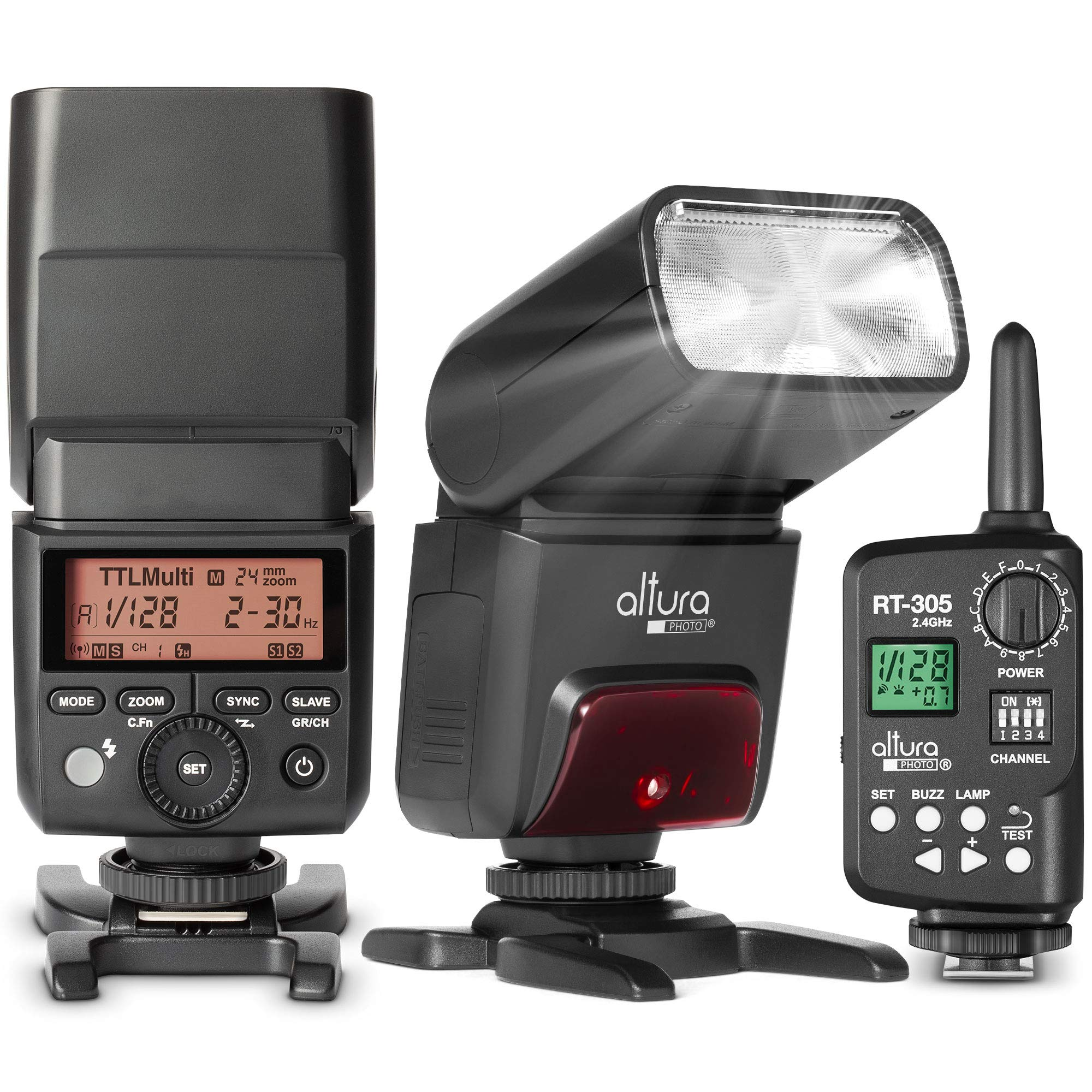 Professional Camera Flash and Wireless Flash Trigger for Sony by Altura Photo - AP-305S & RT-305. 2.4GHz TTL Speedlite for Mirrorless and DSLR