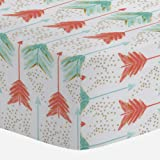 Carousel Designs Coral and Teal Arrows Crib Sheet - Organic 100% Cotton Fitted Crib Sheet - Made in the USA
