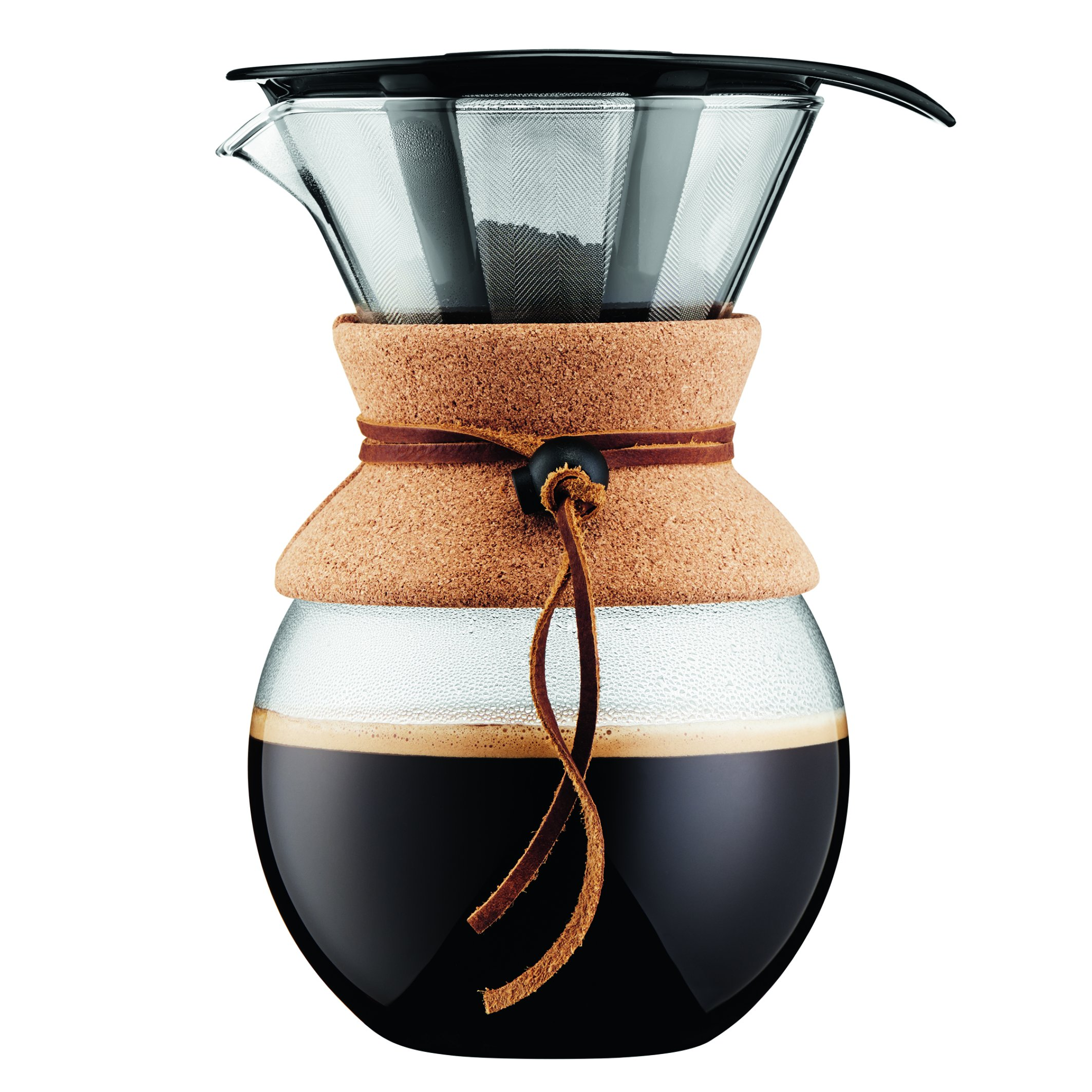 Bodum Pour Over Coffee Maker with Permanent Filter, Glass, 34 Ounce, 1 Liter, (8 Cup), Cork Band