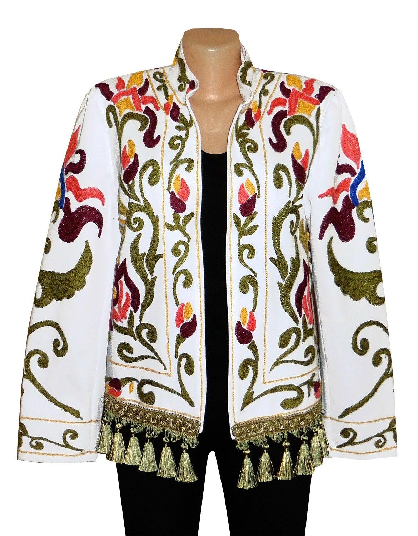 UZBEK TRADITIONAL BUKHARA OUTWEAR COSTUME JACKET SILK EMBROIDERY SUZANI A10180