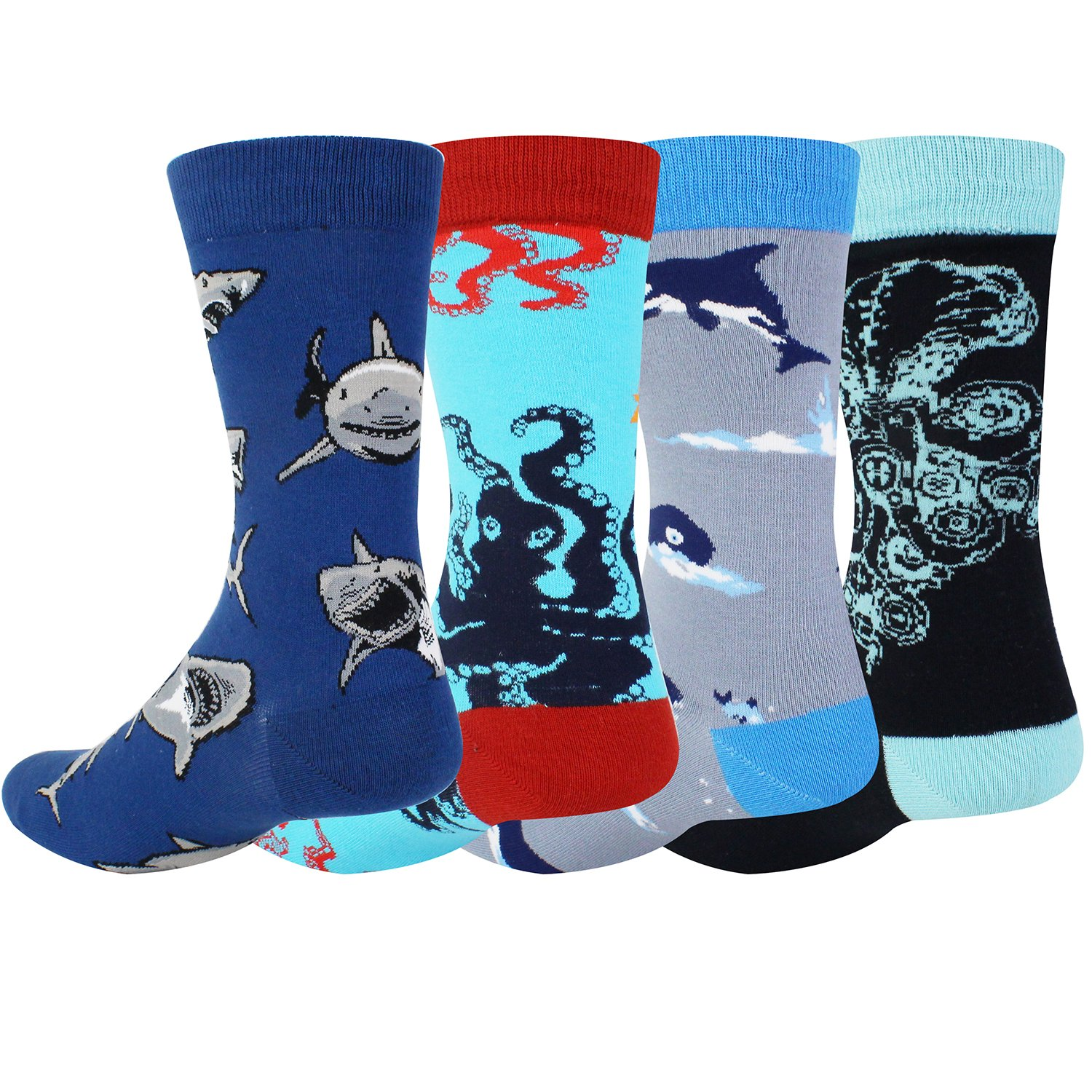 Novelty Cool Crazy Funny Dress Socks,Colorful Cotton Crew Socks, Shark Whale Octopus Gifts for Men by Happypop (Image #3)