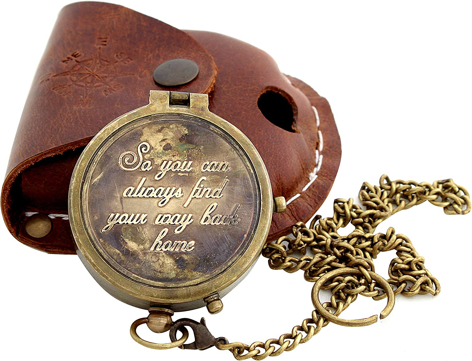 '' So You Can Always Find Your Way Back Home'' Engraved Compass for Confirmation Gifts, Baptism Gifts, Best Easter, Birthday Gifts, Graduation Gifts, Wedding Gifts, Religious Gifts for Men