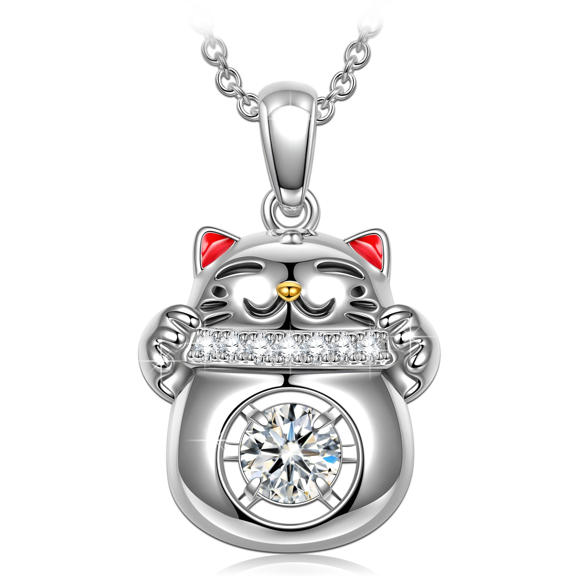 925 Sterling Silver Necklace Animal Necklace for Teen Girls Swarovski Crystal Dancing Stone Cat Necklaces for Grandaughter Niece Year Old Girl Christmas Birthday Gifts