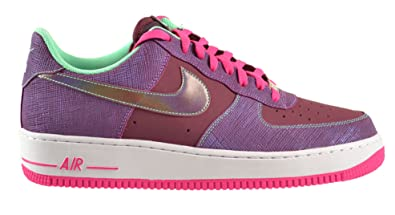 buy popular d3f04 994e3 NIKE Men's Air Force 1 Leather & Synthetic Trainer Cherrywood Red/Pink  Flow-Green