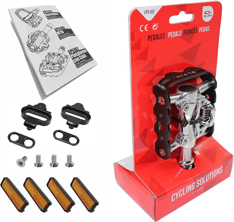 ELTIN EP5102 - Pedales para Bicicleta MTB con Tacos compatibles ...