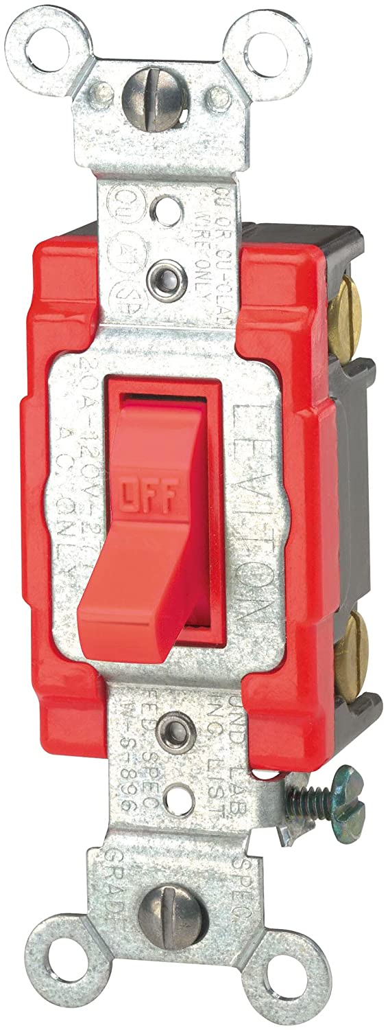 Leviton 1221-2R 20-Amp, 120/277-Volt, Toggle Single-Pole AC Quiet Switch, Extra Heavy Duty Spec Grade, Self Grounding, Red