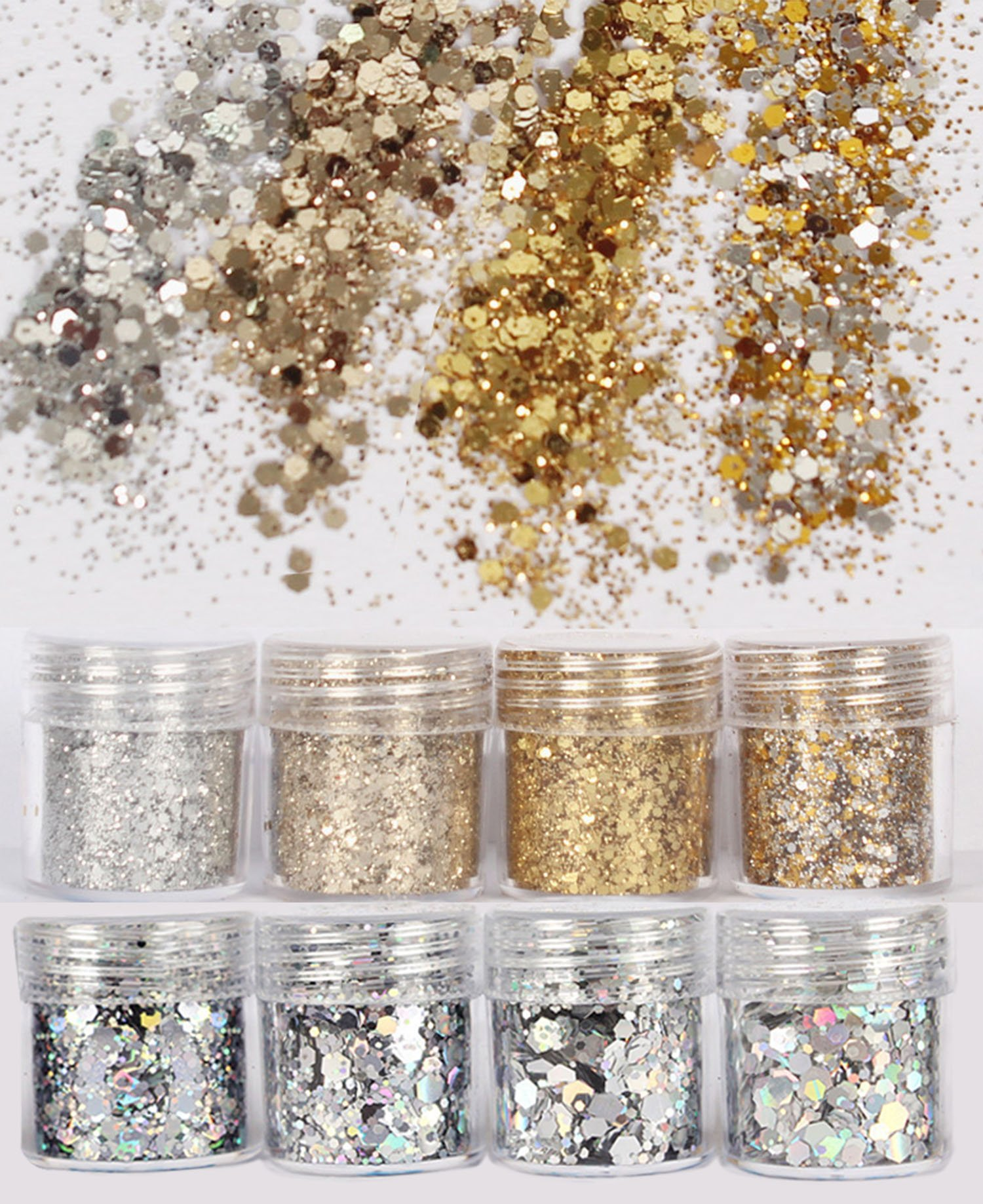 DaLin 8 Boxes Gold Silver Holographic Chunky Glitter Sequins Iridescent Flakes Ultra-thin Tips Colorful Mixed Paillette Festival Beauty Makeup Face Body Hair Nails Cosmetic Glitter (Color 4)