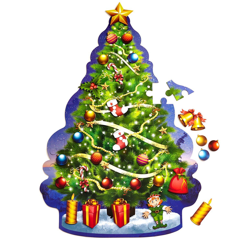 Amazon.com: Educational Christmas Tree Floor Puzzle +29PC Ornaments ...