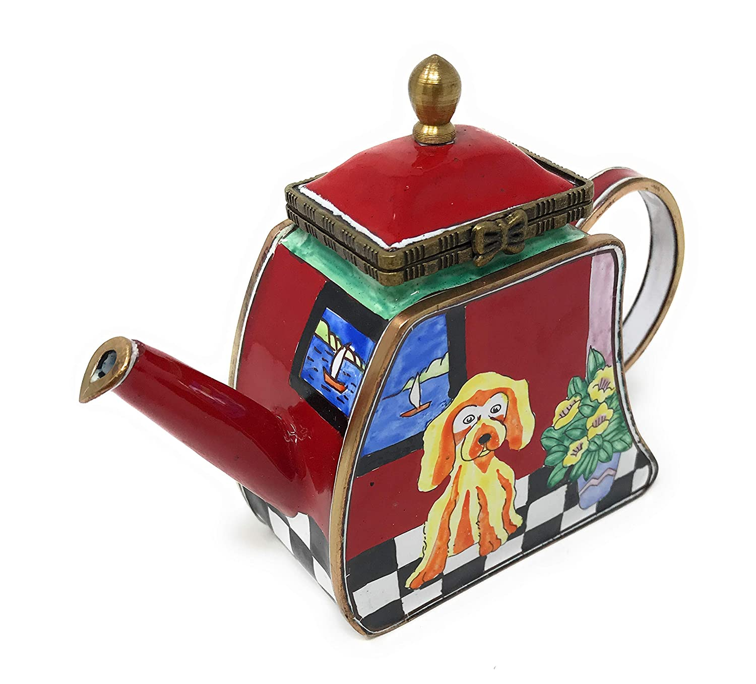 4.25 Inches Long Kelvin Chen Puppy Dog Enameled Miniature Teapot with Hinged Lid