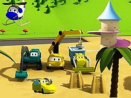 Equipo Constructor construye una torre de princesa y una playa autocity. ¡Ethan el camión volquete, Edgar la excavadora y Charlie la grúa son los miembros ...