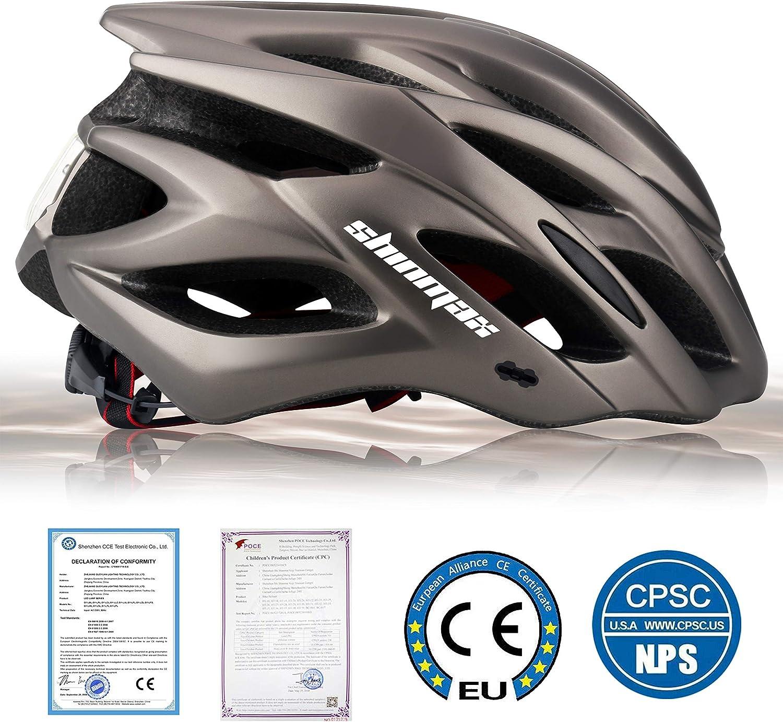 Protecci/ón de Seguridad Ajustable Deporte Ligera para Montar en Bicicleta Casco de Bicicleta BMX Scooter Skate Mountain Road Hombres Mujeres Adulto Shinmax Casco Bicicleta con Visera