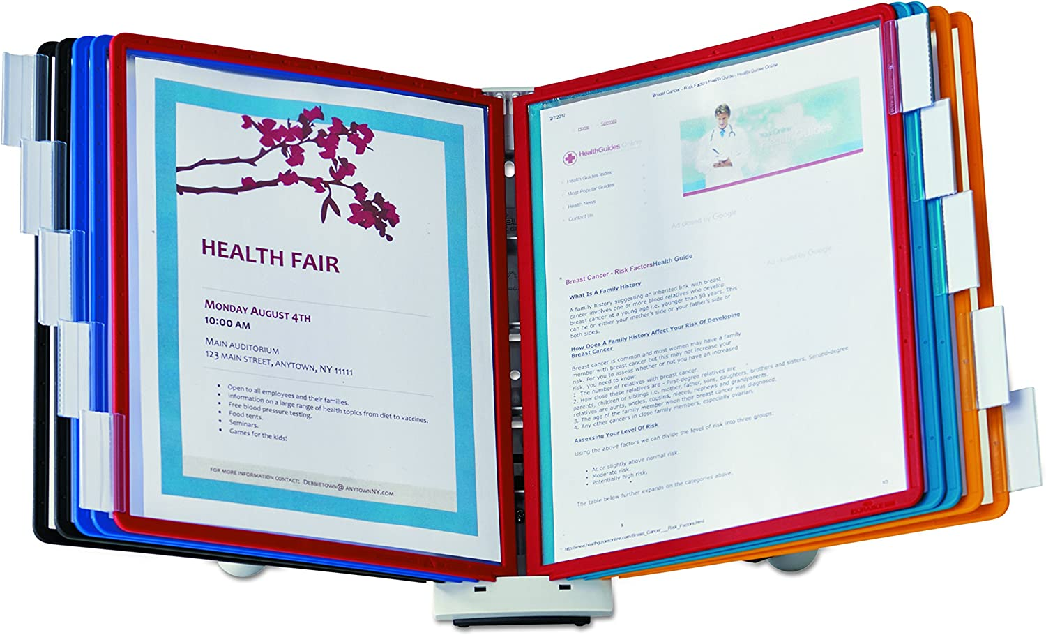 DURABLE Desktop Reference System, 10 Double-Sided Panels, Letter-Size, Assorted Colors, SHERPA Design (554200)