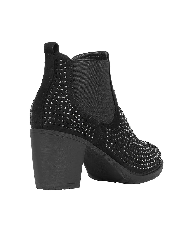 Botines Tacón Negros Brillantes[Negro,37]: Amazon.es: Zapatos y complementos