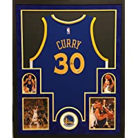 $499 » Stephen Curry Golden State Warriors Autograph Signed Custom Framed Blue Licensed Swingman Jersey Suede Mat Fanatics Authentic Certified