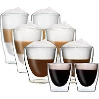 DUOS set med 8 dubbelväggiga termoglasögon 2 x 80 ml espresso/2 x 200 ml teglas/2 x 310 ml latte macchiato/2 x 400 ml…