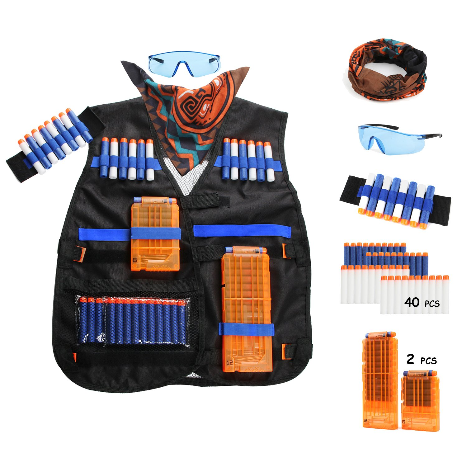AFALA Tactical Vest kits for Nerf N-Strike Elite Series with 40 Refill Darts + 2 Reload Clips + Face Tube Mask + Protective Glasses by Afala