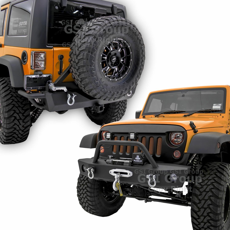 GSI Rock Crawler Stubbyフロントバンパーwith OEフォグライト穴と巻き上げリアバンパープレート+タイヤキャリアと2