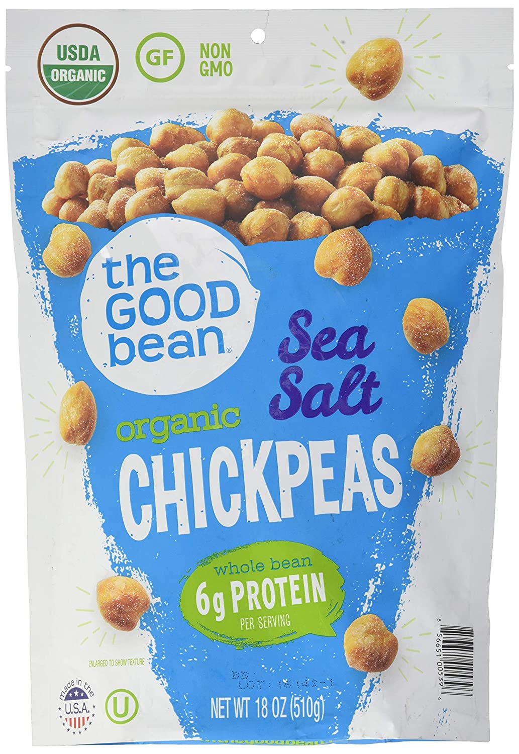 The Good Bean Sea Salt Flavor Crispy Crunchy Chickpeas, 18 Oz