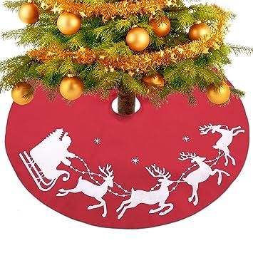 Konsait Falda del Árbol de Navidad rojo 39 Pulgadas de Navidad Fieltro Árbol Falda Base Mat Cubierta con Trineo de Santa para adornos de Navidad decoración ...