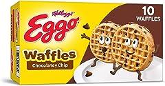 Eggo Frozen Waffles, Frozen Breakfast, Toaster Waffles, Chocolatey Chip, 12.3oz Box (10 Waffles)