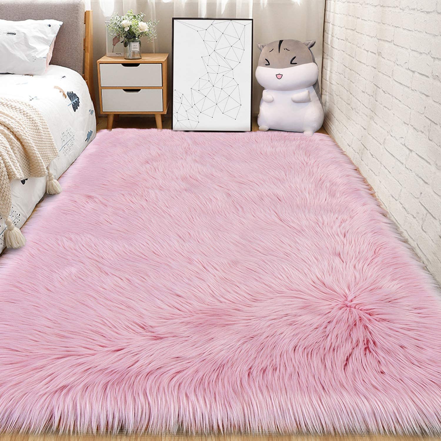 Andecor Soft Fluffy Faux Fur Bedroom Rugs 3 x 5 Feet Indoor Wool Sheepskin Area Rug for Girls Baby Living Room Chair Sofa Home Decor Floor Carpet, Pink