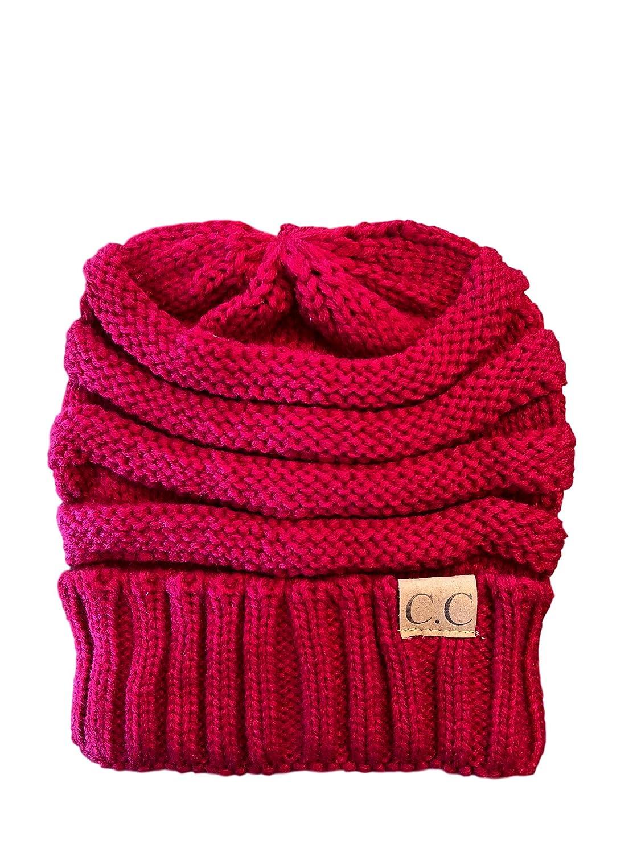 Red Women's, Teen's, Kids, CC Style Knit Winter Hat