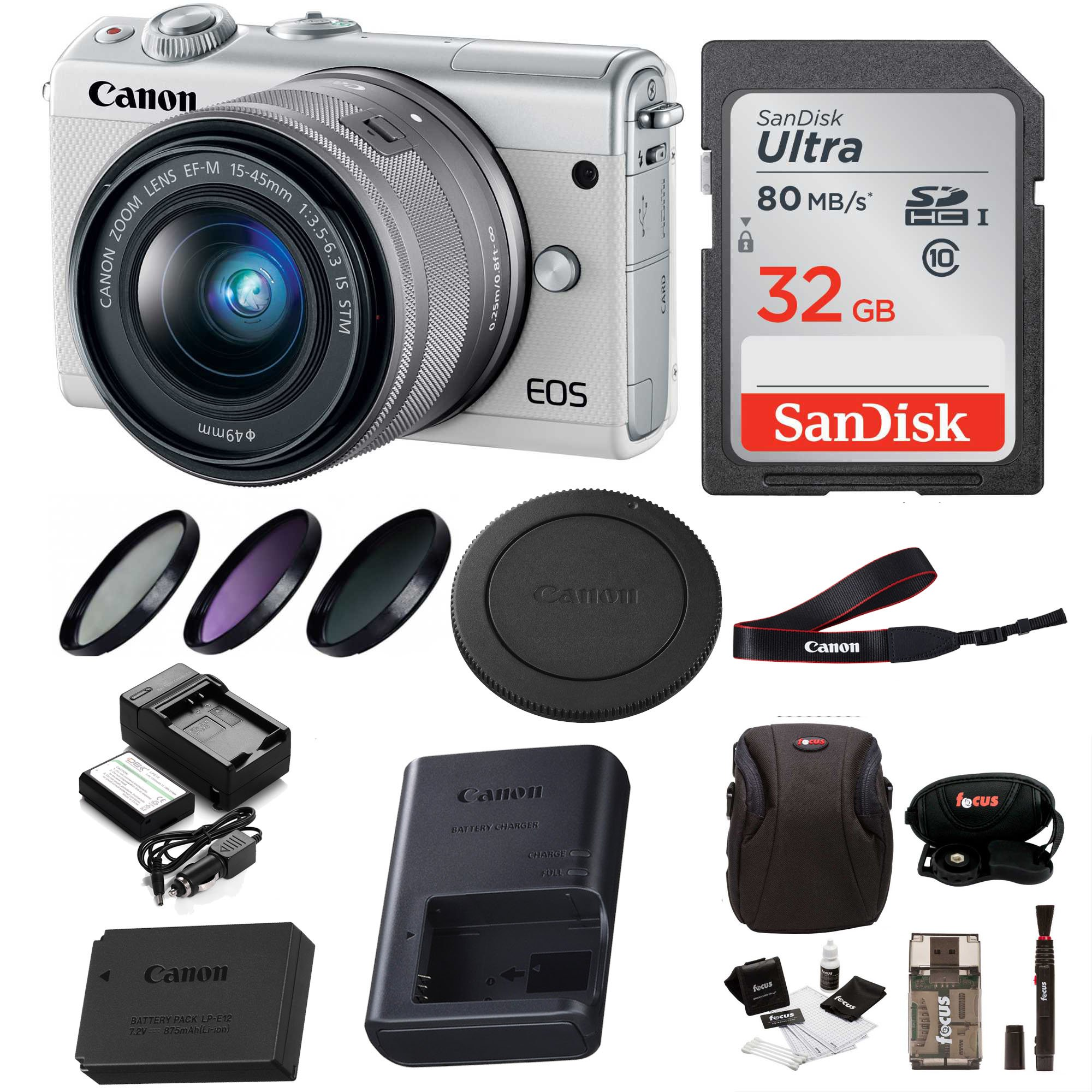 Canon EOS M100 Mirrorless Digital Camera EF-M 15-45mm lens (White) + 32GB Memory Card + Filter Kit + Bundle