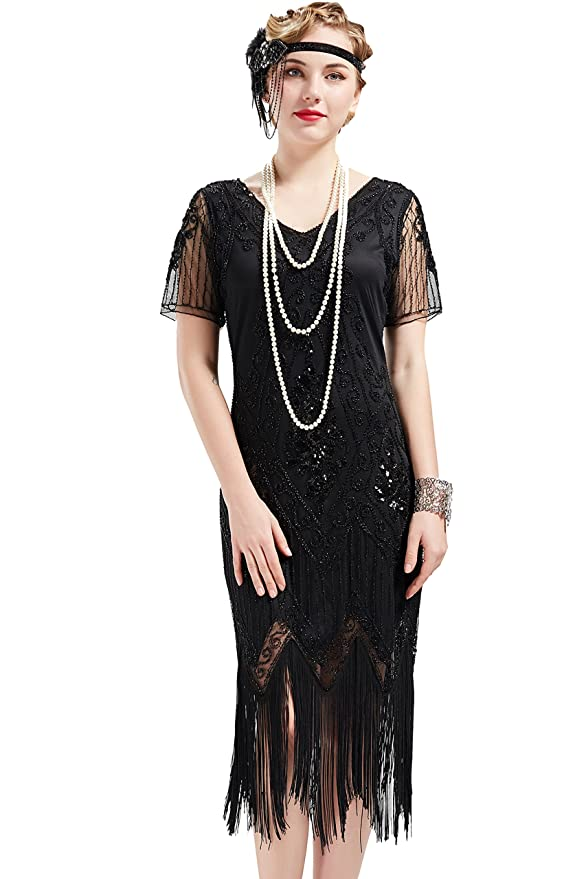 Black Flapper Dresses, 1920s Black Dresses ArtiDeco 1920s Flapper Fringed Sequin Dress Roaring 20s Fancy Dress Gatsby Costume Dress V Neck Vintage Beaded Evening Dress £44.99 AT vintagedancer.com