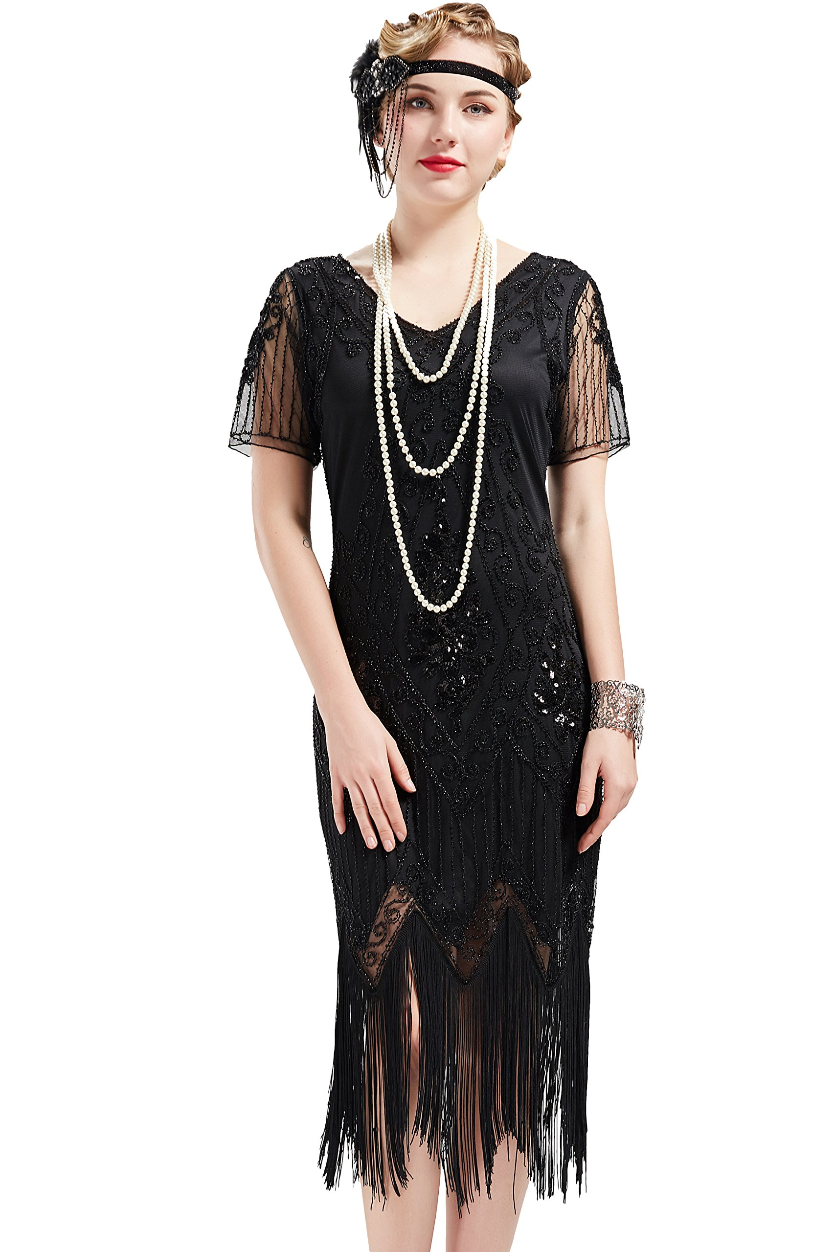 6636e08fcce BABEYOND 1920s Art Deco Fringed Sequin Dress 20s Flapper Gatsby Costume  Dress product image