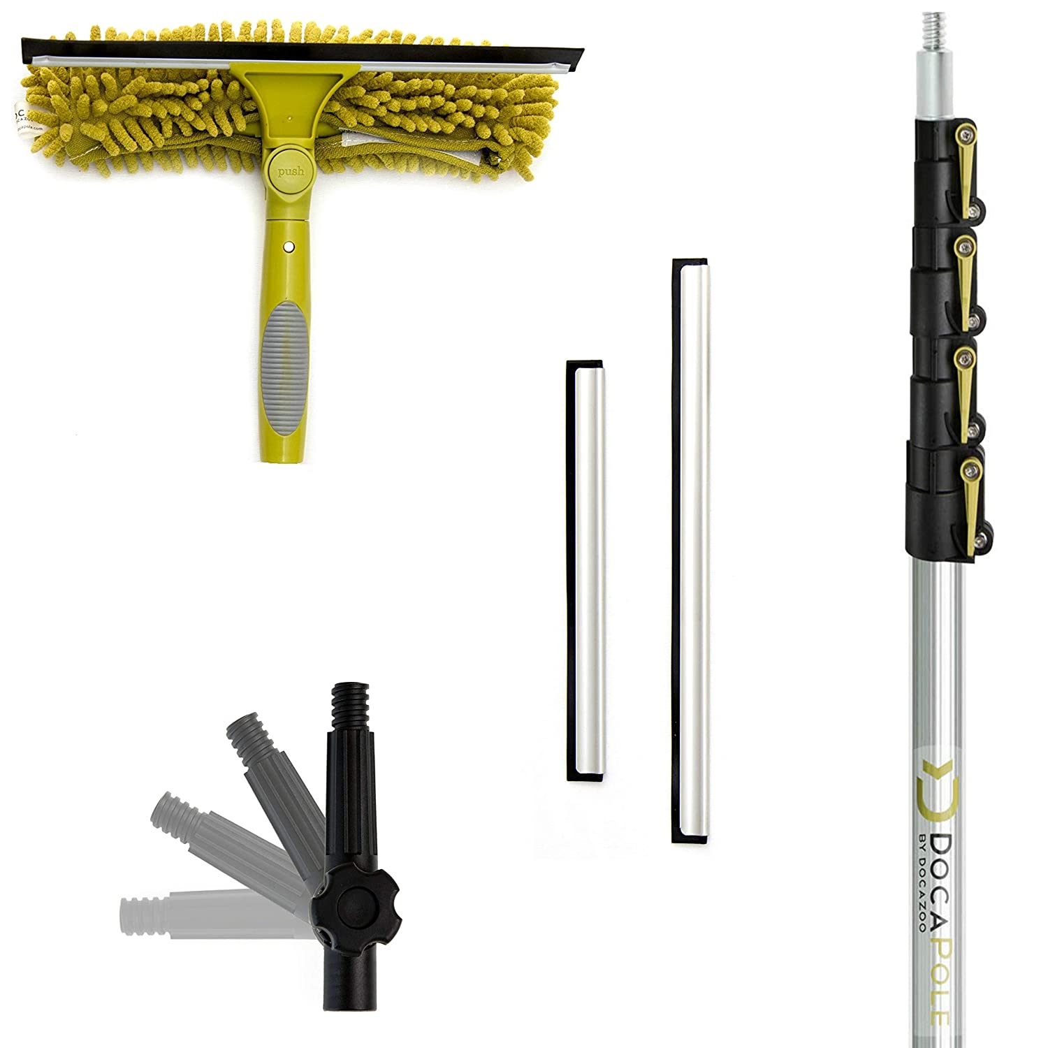 DocaPole 5-12 Foot Extension Pole + Squeegee & Window Washer Combo // Telescopic Pole for Window Cleaning // Includes 3 Sizes of Squeegee Blades // Extension Pole for Cleaning Windows