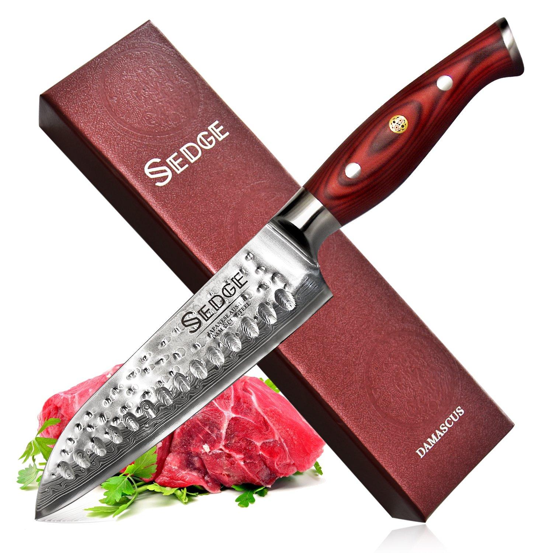 Sedge Santoku Knife - Japanese AUS-10 Damascus High Carbon Stainless Steel - Hammered Finish - With Non-Slip Full-tang Ergonomic G10 Handle - 7''(180mm) - SD-H Series