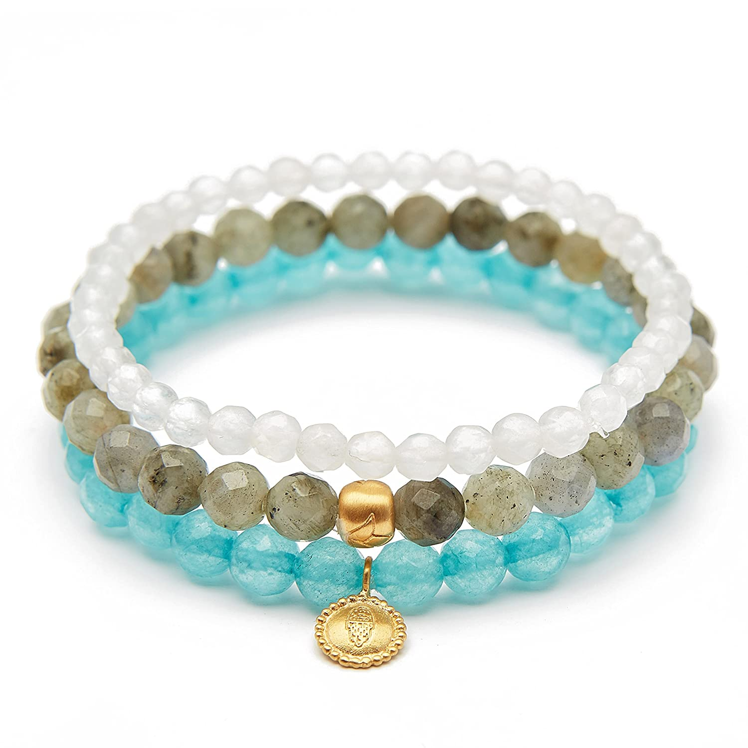 Satya Jewelry Women's Labradorite Angelite White Jade Gold Hamsa Lotus Stretch Bracelet Set, Multi, One Size BG9-SET-86