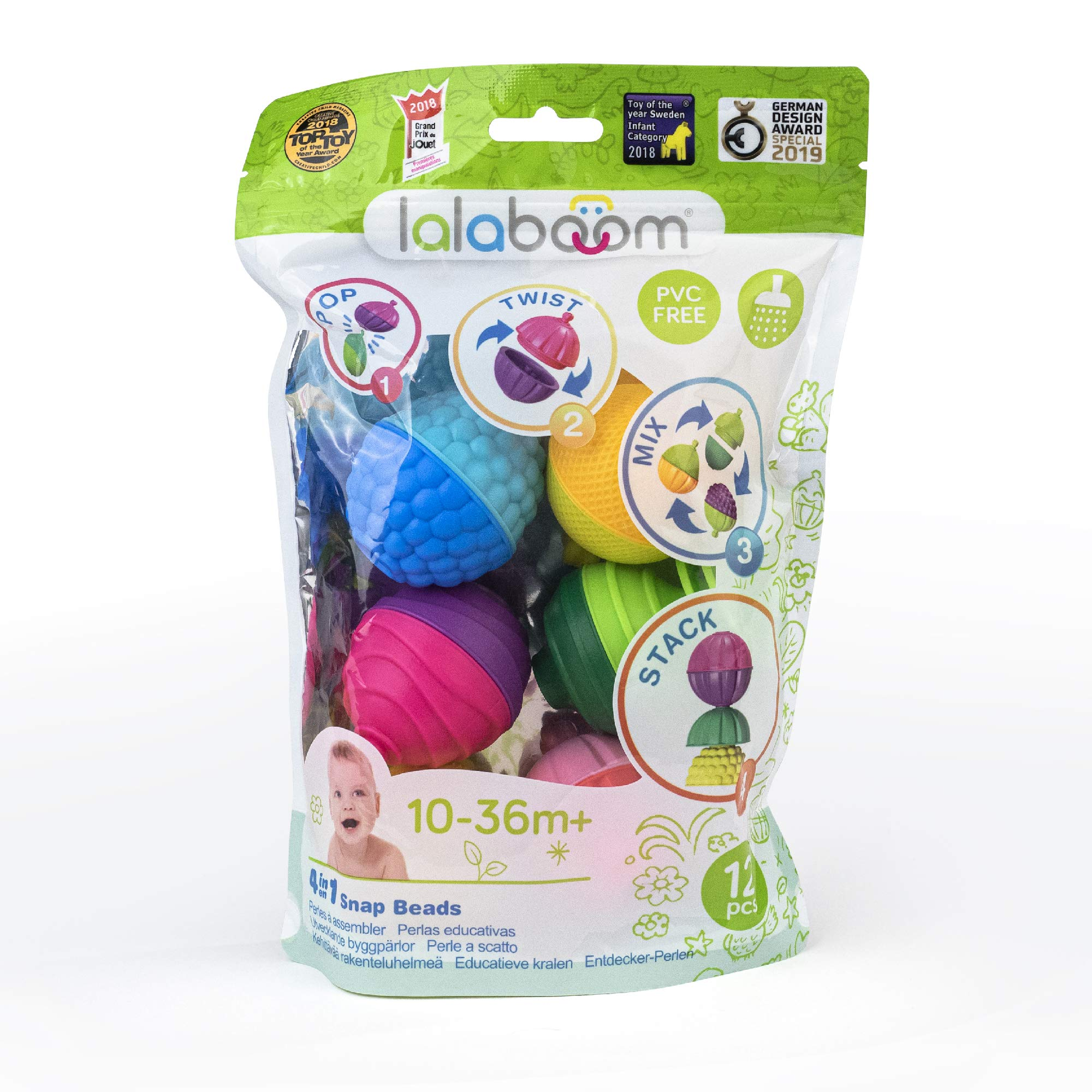 Lalaboom - Preschool Educational Beads - Montessori Shapes and Colors Construction Game and Learning Toy for Babies and Children from 10 Months to 4 Years Old - BL100, 12 Pieces
