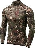 TSLA Men's Thermal Wintergear Compression Baselayer Mock Long Sleeve Shirt, Thermal Mock Neck(yut32) - Pixel Camo Black, Large