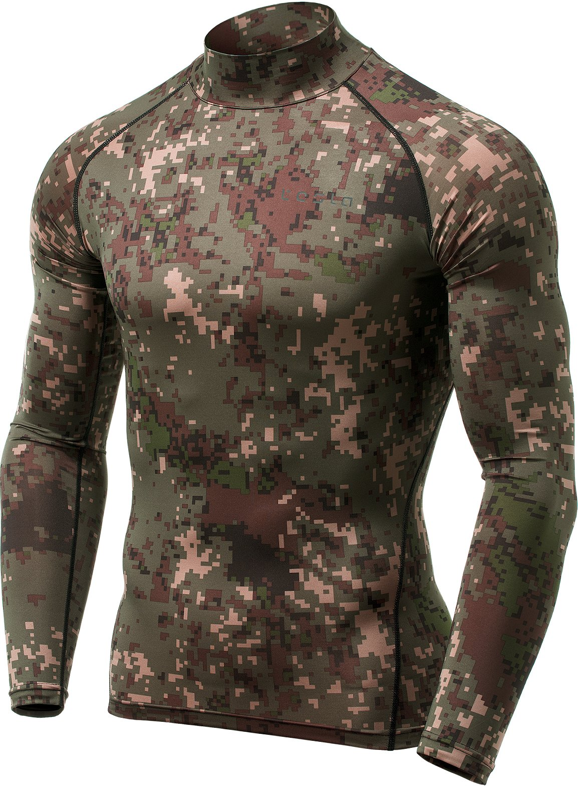 TSLA Men's Thermal Wintergear Compression Baselayer Mock Long Sleeve Shirt, Thermal Mock Neck(yut32) - Pixel Camo Black, Small by TSLA