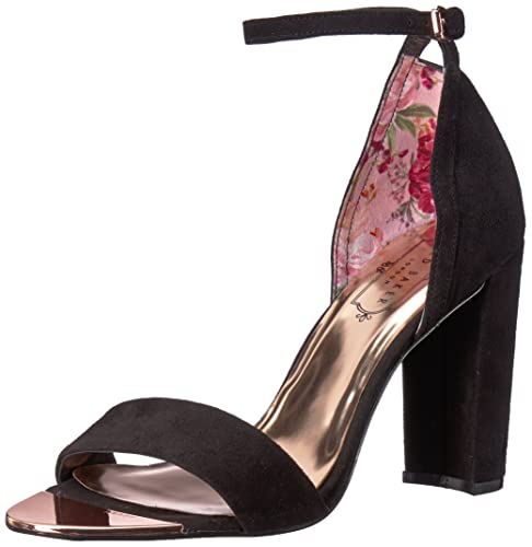 Ted Baker Women's PHANDA Heeled Sandal, Black Suede, 7 M US