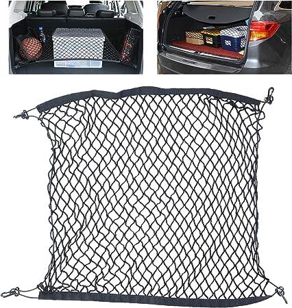Tusenpy Universal Auto Netz Mit 4 Haken Behoben Kofferraumnetz Gepäcknetz Flexibler Elastischer Nylon Gepäckraum Organizer Für Die Meisten Fahrzeugtypen 100 100 Cm Schwarz Auto