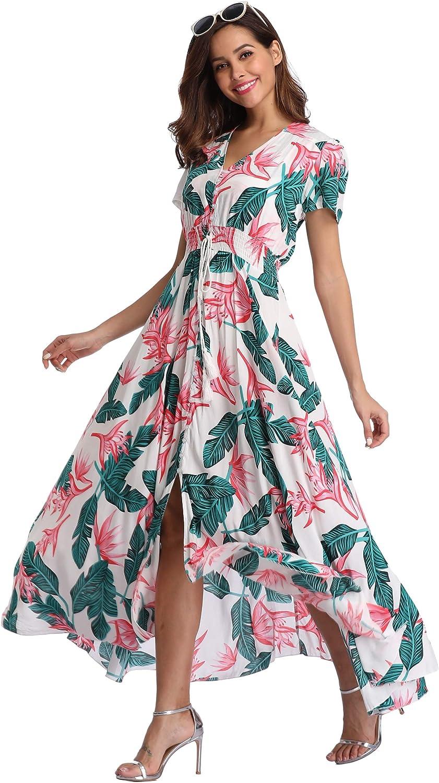 VintageClothing Women's Floral Maxi Dresses Boho Button Up Split Beach Party Dress