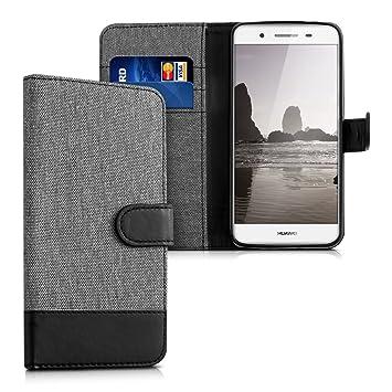 kwmobile Funda para Huawei GR3 / P8 Lite Smart - Carcasa de Tela y [Cuero sintético] - con Tapa y [Tarjetero] [Gris/Negro]