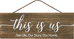 Apanda Wooden This Is Us Sign Wall Hanger - Magnolia Welcome Sign Home Outdoor Wooden Wall Decor for Front Door Kitchen