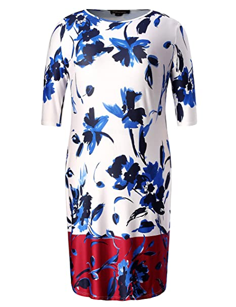 dade226274 Chicwe Women's Plus Size Stretch Floral Designed Shift Dress - Casual  Flowers Dress Blue Multi 1X