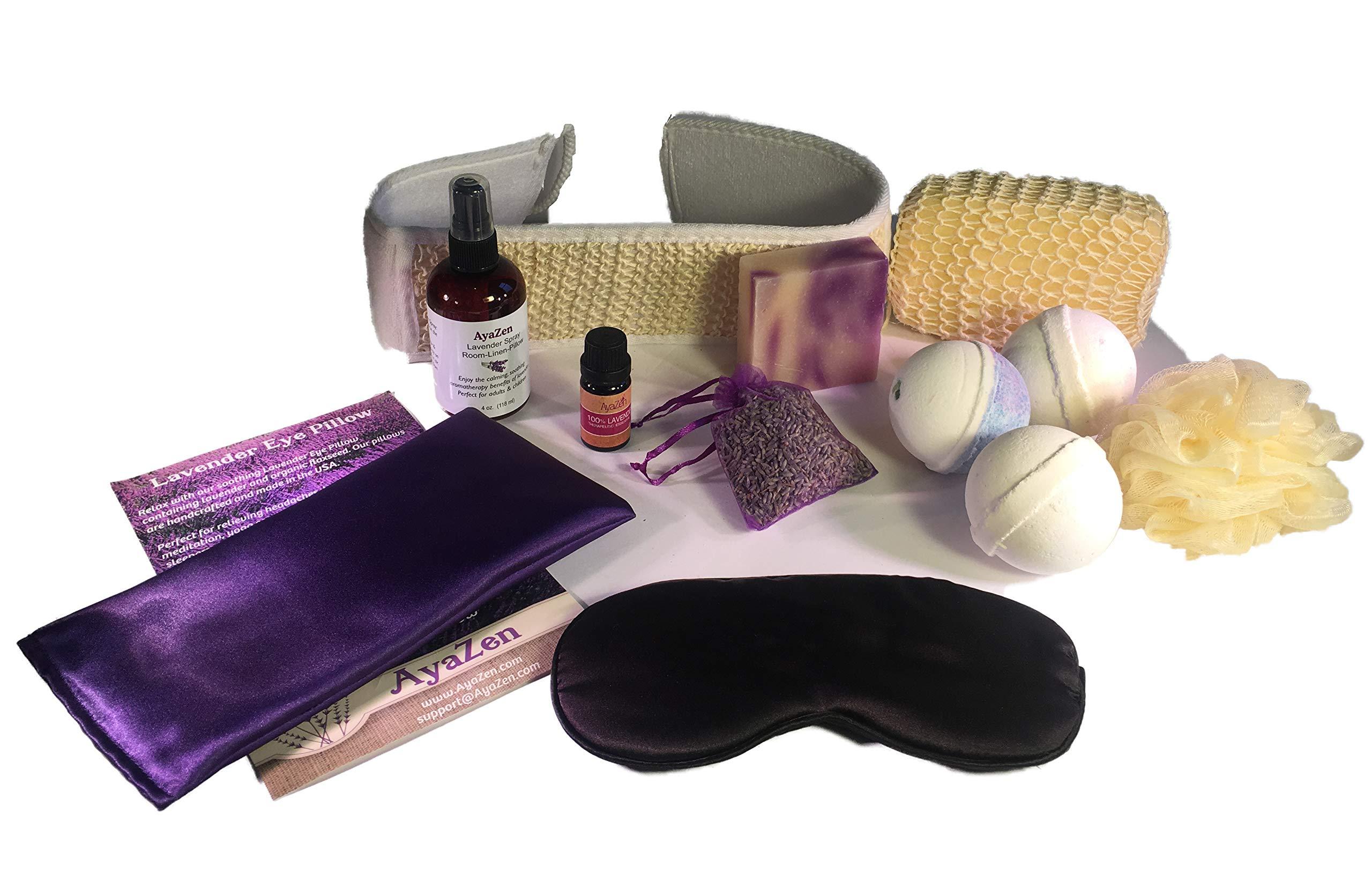 AyaZen Lavender Spa Bath and Body Gift Set-Lavender Eye Pillow, Silk Eye Mask, 3 Large Bath Bombs, Artisan Soap, Lavender Essential Oil, Lavender Room & Linen Spray, Lavender Sachet Made IN USA