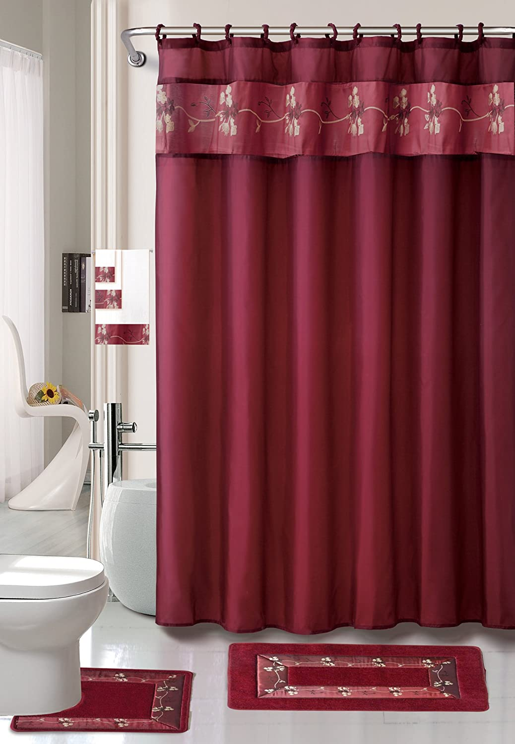amazoncom burgundy flower 18 piece bathroom set 2 rugsmats 1 fabric shower curtain 12 fabric covered rings 3 pc decorative towel set home kitchen - Bathroom Sets