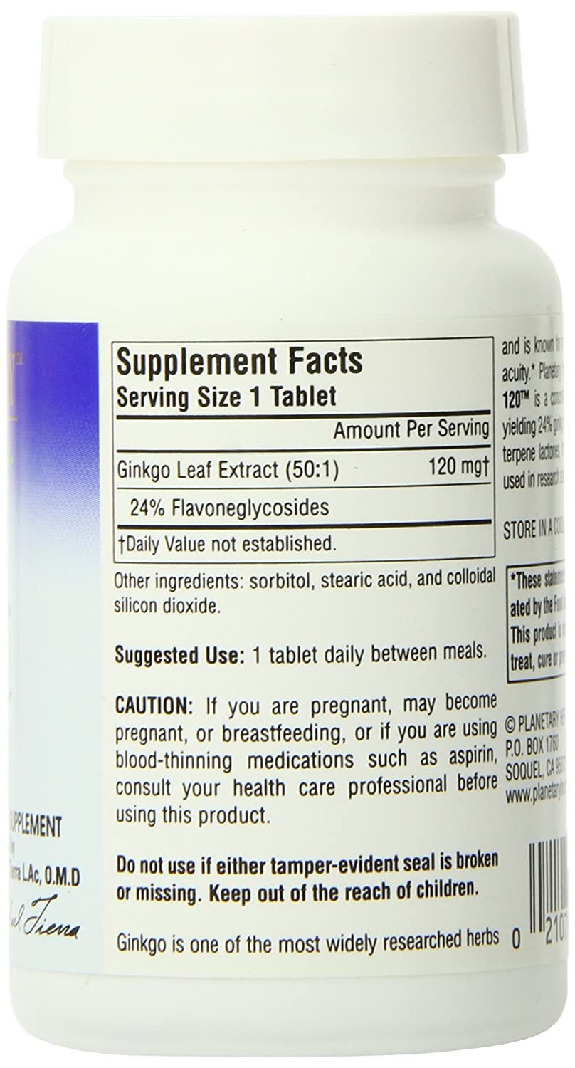 Planetary Herbals Ginkgo OptiMem 120, Supports Mental Acuity