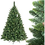 FairyTrees Albero di Natale artificiale PINO, verde naturale, materiale PVC, vere pigne, incl. supporto in metallo, 180cm