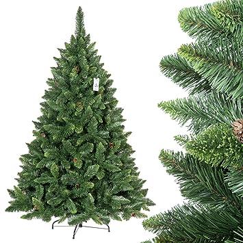 Künstlicher Weihnachtsbaum Wie Echt.Fairytrees Künstlicher Weihnachtsbaum Kiefer Natur Grün Material Pvc Echte Tannenzapfen Inkl Metallständer 180cm Ft03 180