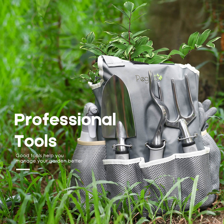 PEGZOS 10 Piece Garden Tools Set Gardening Tools with Garden Gloves, Gardener Apron and Garden Storage Tote, Gardening with Garden Trowel Pruners Clippers, Garden Hand Tools by PEGZOS (Image #6)