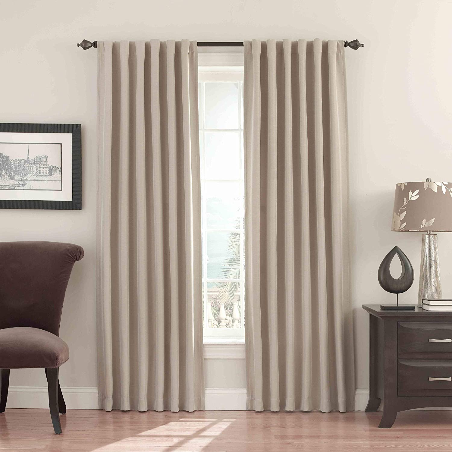 Black Solid Thermapanel 54 x 63 Thermal Insulated Single Panel Rod Pocket Light Blocking Curtains for Living Room ECLIPSE Room Darkening Curtains for Bedroom
